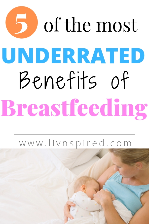 Aside from the laundry list of benefits for our baby\'s health and well-being, there are some down right AWESOME (underrated) BENEFITS of BREASTFEEDING! To me, these are some of my favorite little bonuses that tend to get overlooked.  #breastfeeding #newmom #momlife #benefitsofbreastfeeding