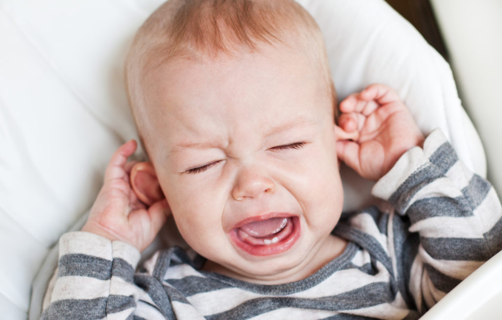baby crying from ear pain